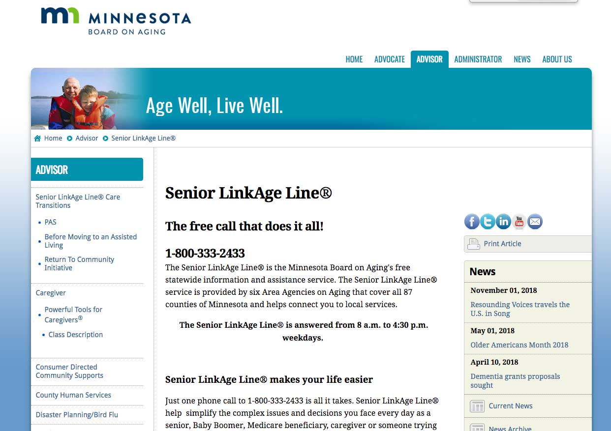 Screenshot of Senior Linkage Line web page
