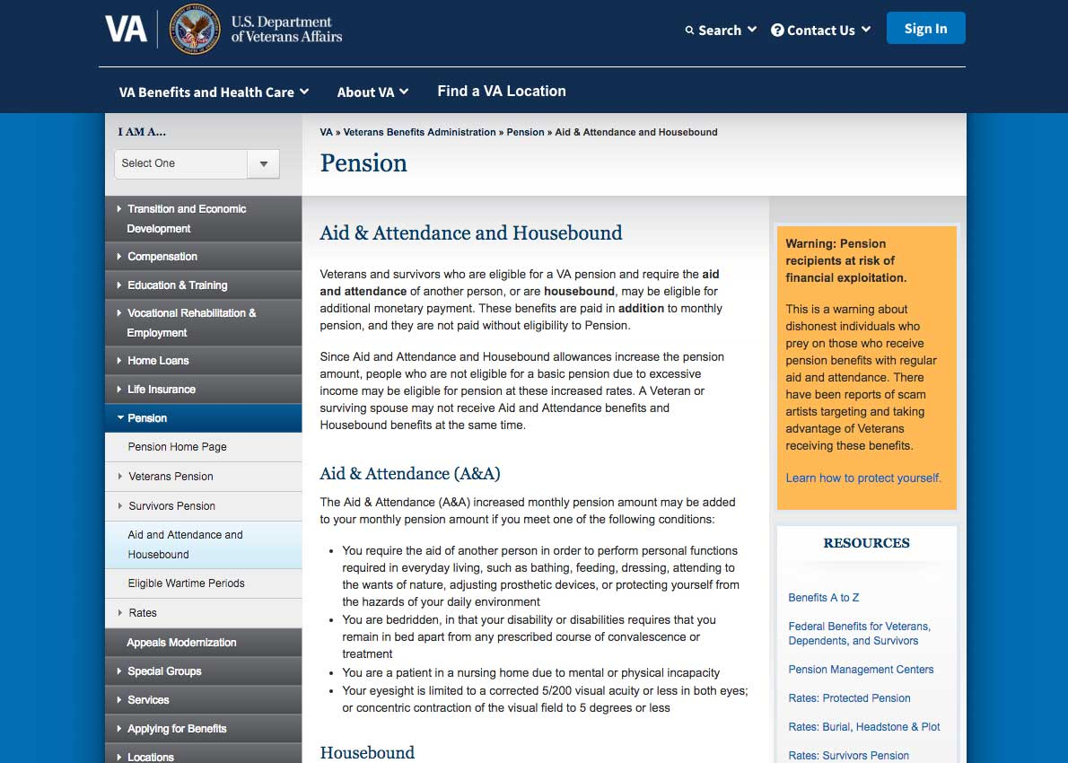 Screen shot of Veterans Aid And Attendance Benefit web page