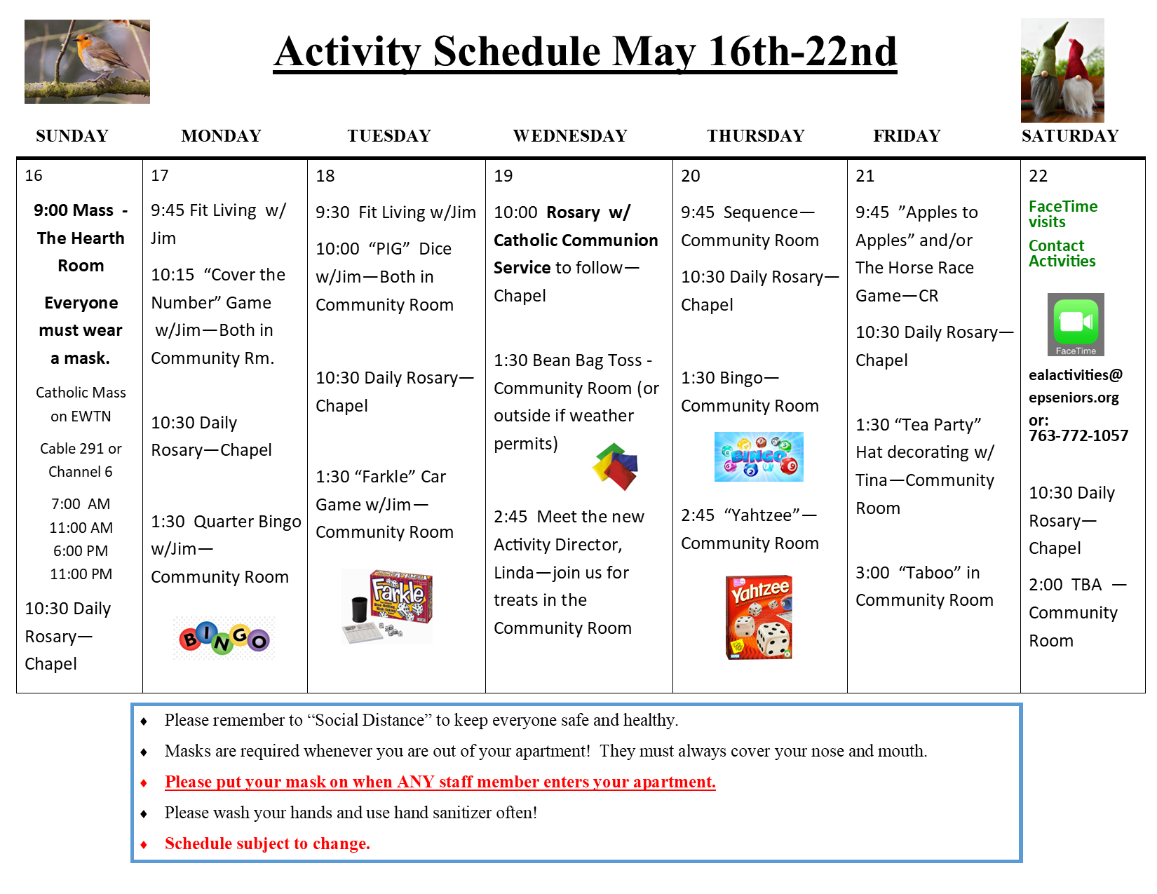 Weekly Schedule May 16 22